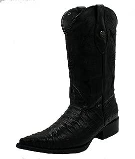 Dona Michi Men's Handcrafted Crocodile Alligator Belly Print Western Cowboy Boots