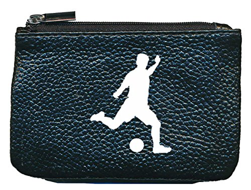 Petit Porte Monnaie en Cuir Porte cles Noir Motif Football Foot