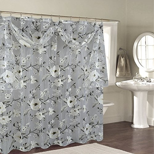 """BH Home & Linen Decorative Sheer Scarf Shower Curtain with Floral Designs 70"""" x 72 Inch Made of 100% Polyester. (Melarose Gray)"""