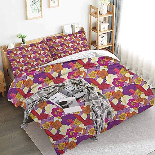 Aishare Store - Juego de funda de edredón vintage con diseño de flores y peonías abstractas románticas, 3 piezas de ropa de cama con 2 fundas de almohada, color multicolor