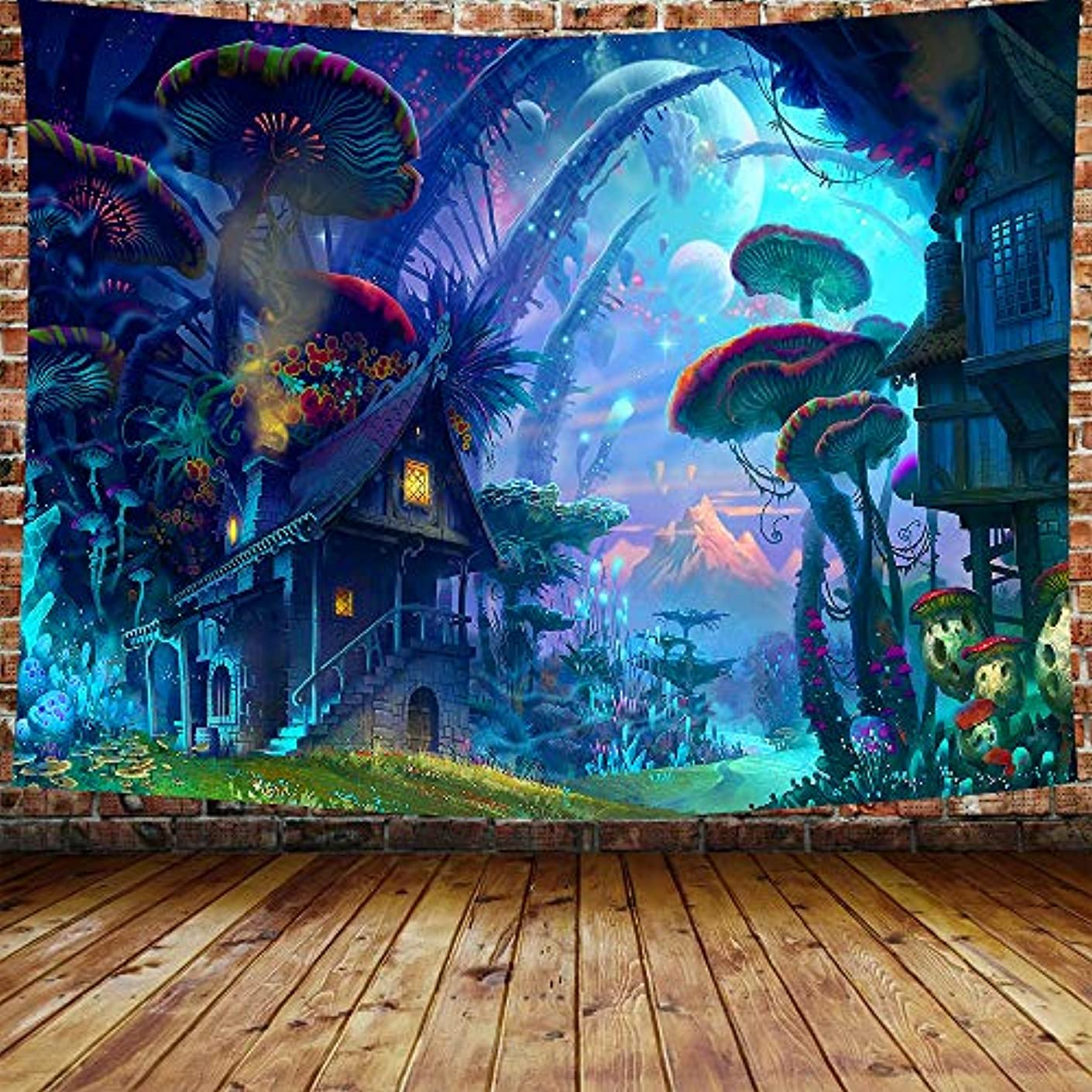 DBLLF Poster Psychedelic Mushroom Tapestry Trippy Colorful Surreal Abstract Astral Digital Art Office Electric Forest Wall Decor Tapestries Tapestry Wall Hanging Tapestries 80×60 Inches DBZY0290