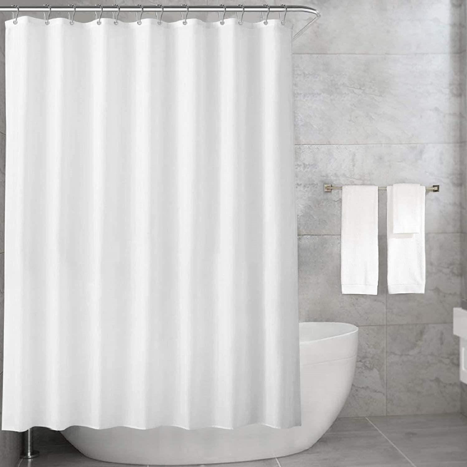 Carttiya Shower Curtain, Fabric White Shower Curtains, Waterproof and Mould & Mildew Resistant, Long, with 12 Rustproof Hooks and Weighted Hem, for Bath Tub and Shower Stall, 72x72inches White 180 x 180 cm