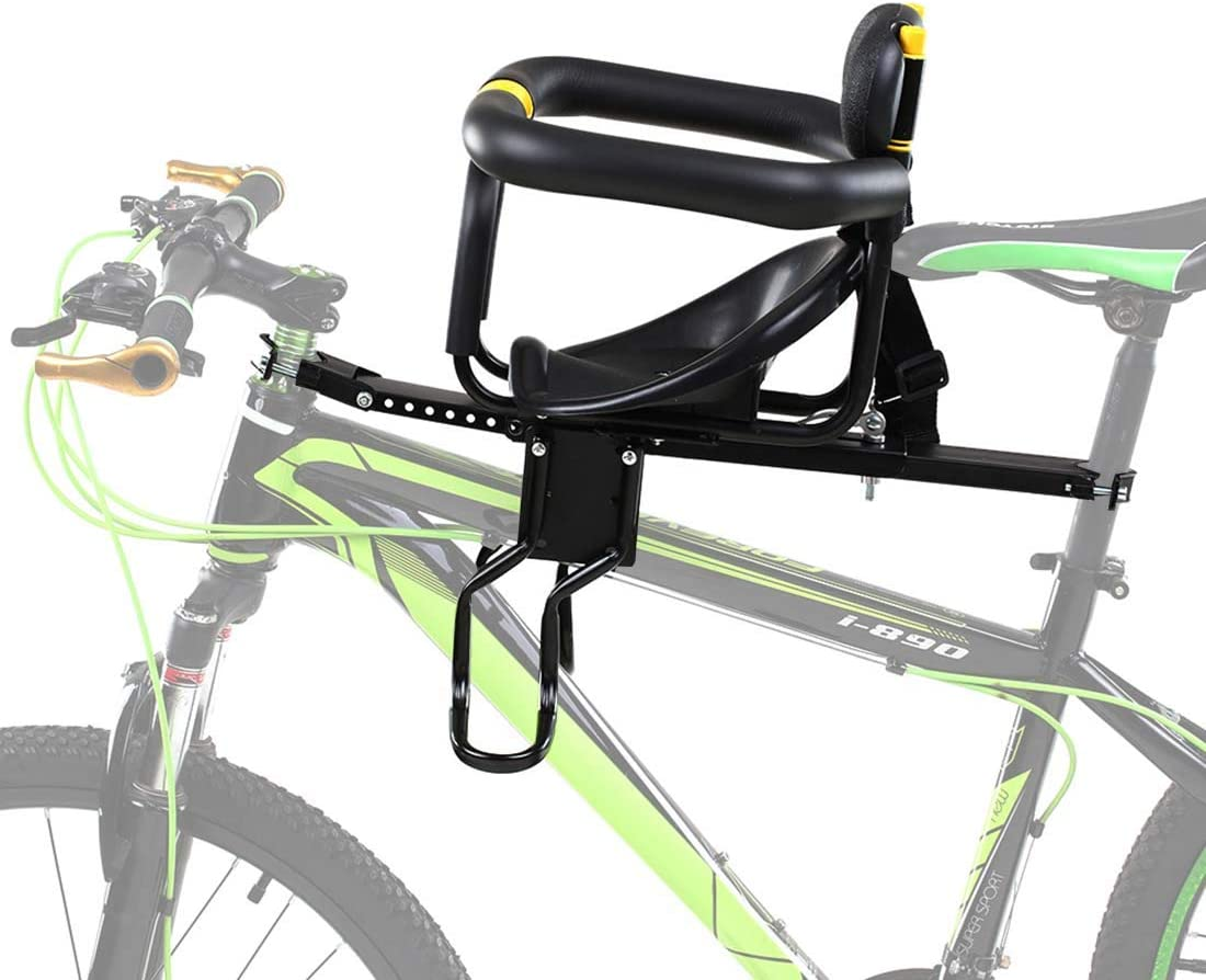 FenglinTech Baby Bike Seat, Front Mounted Child Bike Seat with Back Rest, Foot Pedals and Handrail