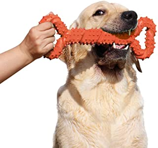 LECHONG Durable Dog Chew Toys 13 Inch Bone Shape Extra Large Dog Toys with Convex Design Strong Tug Toy for Aggressive Che...