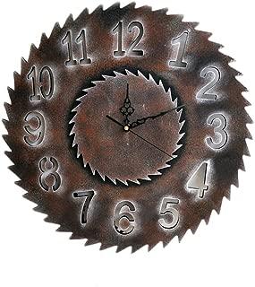 Labyrinen Vintage Industrial Wall Clock - Wooden Gear Saw Blade, Handmade 3D Gear Wall Clock Perfectly for Home Bar Retro Decor