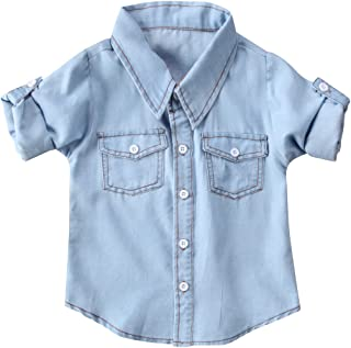 Fashion Kids Toddler Baby Boy Girl Adjustable Sleeve Button Down Denim Shirt Tops Blouse