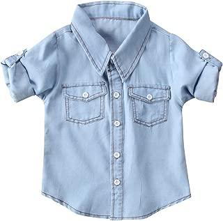 Honganda Fashion Kids Toddler Baby Boy Girl Adjustable Sleeve Button Down Denim Shirt Tops Blouse