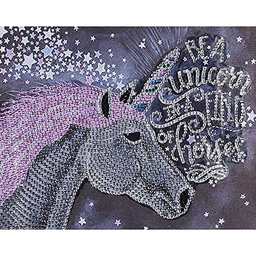 VVEEWUU DIY 5D Diamond Painting Kit Paint by Numbers for Adults and Kids Crystal Rhinestone Embroidery Cross Stitch Arts for Home Wall Decor (Unicorn Horse)