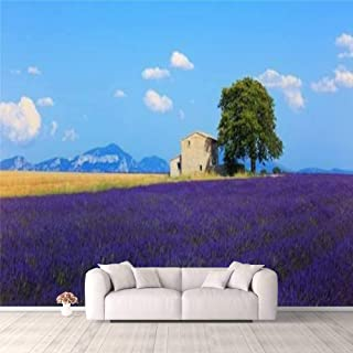 Modern 3D PVC Design Removable Wallpaper for Bedroom Living Room Lavender flowers blooming field wheat house and lonely tr...