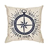 Fjfz Not All Those Who Wander Are Lost Inspirational Travel Quote Decoration with Nautical Compass Rose Vintage Décor Cotton Linen Home Decorative Throw Pillow Case Cushion Cover Sofa Couch, 18' x 18'