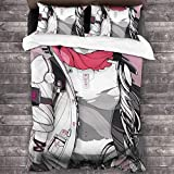WONGHI Cyberpunk Robot Girl Wubai Soft Microfiber Polyester 3-Piece Luxury Lightweight Bedding Set Bed for Adults Kids 1 Comforter Cover + 2 Pillowcases (No Comforter)