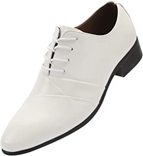 Zapatos de Vestir para Hombres Patchwork Zapatos de Cuero Transpirables con Cordones, Bajos, Sencillos, Resistentes al Des...