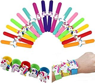 PartyYeah 16-Pcs Unicorn Slap Bracelet Silicone Wristbands Unicorn Party Supplies Kids Party Favours Decor Assorted Unicorn Wristbands Novelty Toy School Prize Gifts Children Goodie Bag Fillers