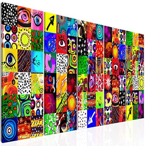 decomonkey Bilder Abstrakt 225x90 cm 5 Teilig Leinwandbilder Bild auf Leinwand Wandbild Kunstdruck Wanddeko Wand Wohnzimmer Wanddekoration Deko modern bunt Abstrakt Kunst