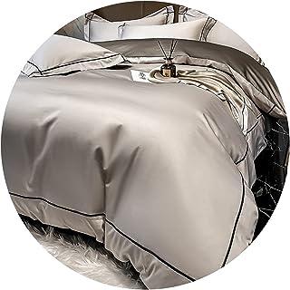 طقم مكون من أربع قطع مكون من 160 سرير من القطن الخالص طويل التيلة غطاء لحاف بسيط متطور نسيج قطن خالص عملية ضغط حافة مطرزة