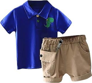 Conjunto de 2 piezas de ropa de niño lindo bebé niño conjunto de trajes de verano para 1-6 años impresión dinosaurio camis...