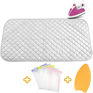 Upgraded Thick Ironing Mat,Travel Ironing Blanket Ironing Pad,Portable Double-Side Using,Heat Resistant Pad Cover for Washer,Dryer,Table Top,Countertop,Ironing Board for Small Space (21.6 x 47.2 inch)