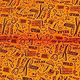 Jersey Stoff neon Rock & Roll neonorange Totenköpfe