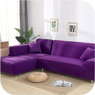 Asarahshop Grey Color Tight Wrap Sofa Cover Elastic Needs Order 2 Pieces Sofa Cover If L Style Sectional Corner Sofa capa de Sofa,Purple,1-seat 90-140cm