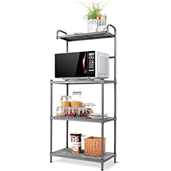 "Giantex 4-Tier Kitchen Microwave Storage Rack Oven Stand Strong Mesh Wire Metal Shelves Free Standing Baker's Rack Shelving Utility Unit, 23.5"" Lx14 Wx54 H (Silver)"