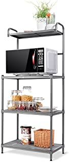Giantex 4-Tier Kitchen Microwave Storage Rack Oven Stand Strong Mesh Wire Metal Shelves Free Standing Baker's Rack Shelvin...