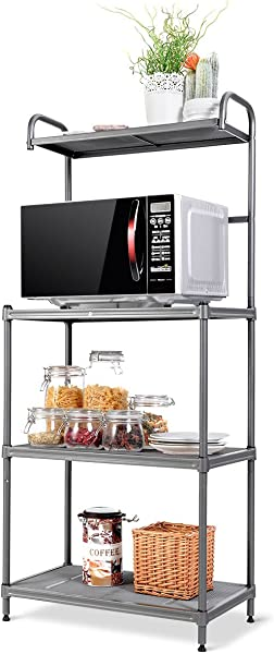 Giantex 4 Tier Kitchen Microwave Storage Rack Oven Stand Strong Mesh Wire Metal Shelves Free Standing Baker S Rack Shelving Utility Unit 23 5 Lx14 Wx54 H Silver