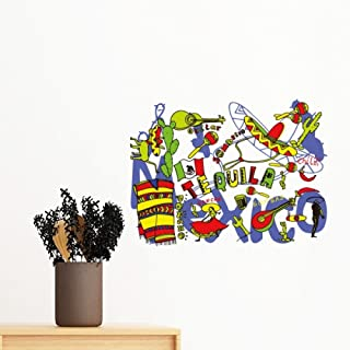 DIYthinker Tequila Sombrero Guitar Chili Mexico Culture El T Removable Wall Sticker Art Decals Mural DIY Wallpaper for Roo...
