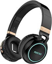 Reetec Over Ear Bluetooth Headphones, Wired and Wireless Headsets, Foldable and Lightweight, Stereo Deep Bass Sound with CVC 6.0 Noise Cancelling Mic, LED Light Up TF Card Slot for Phone TV PC (Black)