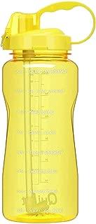 水筒 2000ml 直飲み スポーツボトル 時間マーカー ストロー付き 直飲み 取って プラスチック 目盛り 漏れ防止 BPAフリー