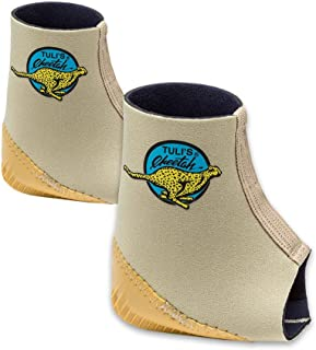 Tuli's Cheetah Heel Cup with Compression Ankle Support Sleeve, Foot Protection for Gymnasts and Dancers, Lightweight, Fitted XSmall (Pair)