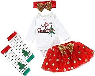Fossen Bebe Ropa, Disfraz Navidad Bebe Niña MY 1st Christmas Monos Tops + Tutu Falda + Diadema + Calcetines Navidad Conjunto Ropa para Recién Nacido Bebé 0-24 Meses
