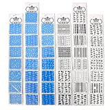 PUEEN Nail Art Water Tattoo Sticker WD1-44 Packs All Different Designs (Over 800 Stickers) Classic Black & White Bow Snow Rose Heart Butterfly Star Holiday Nails Decal Decorations-BH000163
