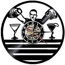 Record Vinyl Wall Clock Disc Vinyl 3D Reloj de Pared Diseño Moderno Whisky Beer Design Moda Bar Decoración Vintage CD Relojes Reloj de Pared Decoración para el hogar @ C