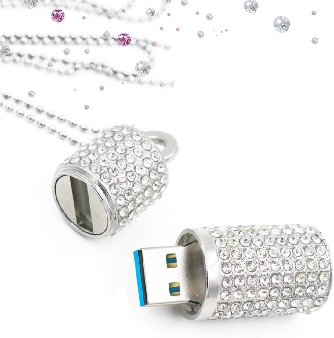 EcooDisk 128GB Chicago Mall USB 3.0 Flash Drive Shape Dr Lipstick store Diamond Zip