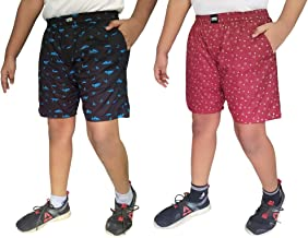 UNOseven Boys Pure Cotton Printed Shorts/Boxers Combo of 2 (01,03)