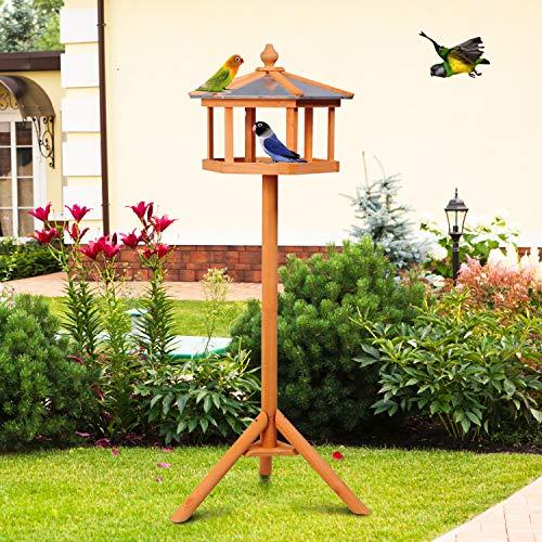 PawHut D3-0006 Vogel/Futterhaus Kanarien Holz mit Ständer und Zinkdach Wasserdicht, natur - 2