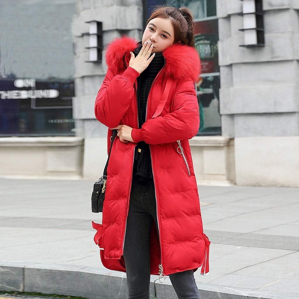 Hoodie Damen Kapuzenmantel Lange,Steppmantel,Wintermantel mit Reißverschluss,Baumwollemantel,Winterparka Dicke Jacken Kunstpelz Outerwear URIBAKY Rot