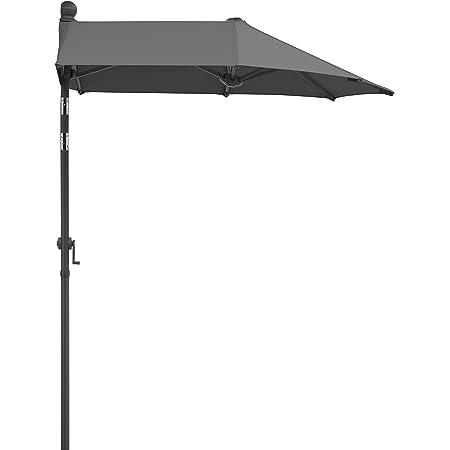 Sekey/® Ombrellone Mezzaluna Salvaspazio in Ombrello Parasole da Esterno da Giardino 270 cm Protezione Solare UV50 Taupe.