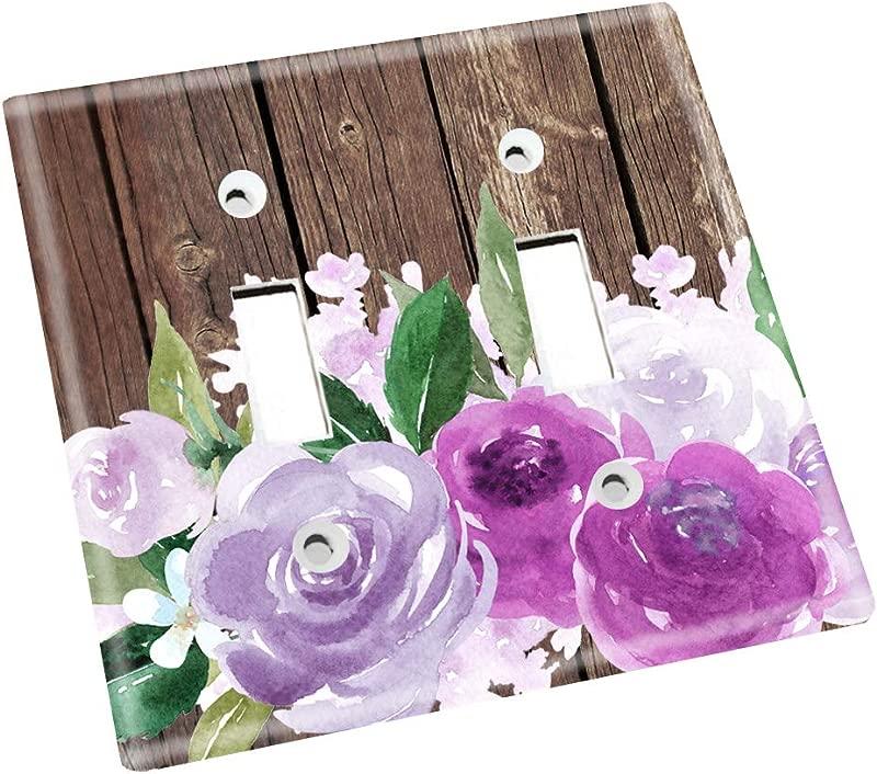Purple Flowers Brown Rustic Nursery Bedroom Light Switch Cover LS0127 Double Standard