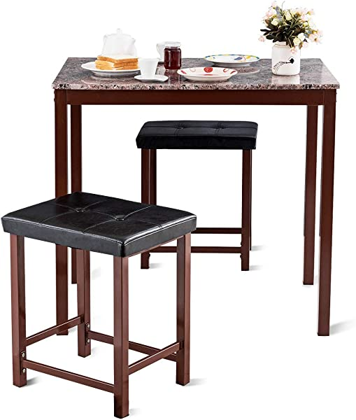 Giantex 3 PCS Counter Height Dining Set Faux Marble Table 2 Chairs Kitchen Bar Furniture Secondary Color