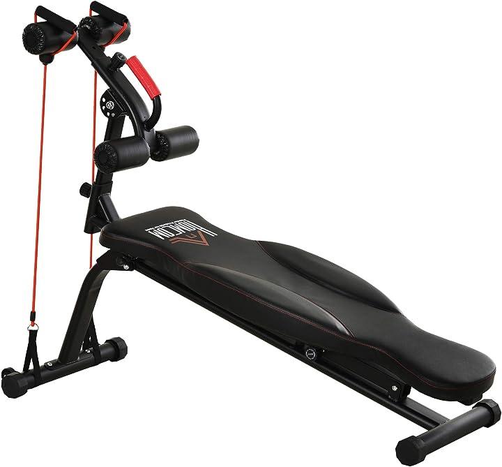 panca per addominali pieghevole per allenarsi a casa telaio in acciaio e imbottitura nera e rossa homcom ita91-087bk0631