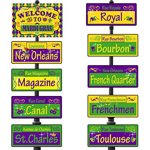 20 Piezas Señales Direccionales de Mardi Gras Señales de Calle de New Orleans Cartón Estampado de Carnaval Decoraciones para Artículos de Fiesta Temática de Mardi Gras