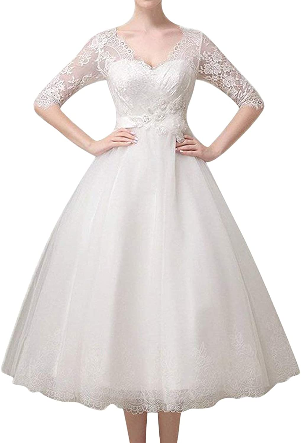 H.S.D Wedding Dress Lace Bridal Dress Wedding Party Gown Tea Length Half Sleeves