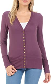 Women s Snap Button Sweater Cardigan with Ribbed Detail 6b8031a11