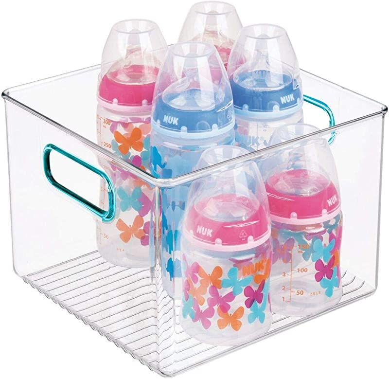 MDesign Storage Organizer Container Bin With Handles For Baby Supplies In Kitchen Pantry Nursery Bedroom Playroom BPA Free Food Safe Holds Snacks Bottles Baby Food Clear Blue