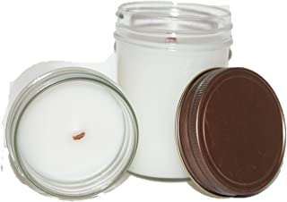 ChicWick Candles 2Pack Leather and Lace Wooden Wick Mason Jar Soy Blend 6 oz each 12 oz total, 80 Plus Hours of Quality Fragrance