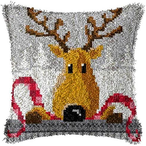 Latch Hook Kits DIY Throw Pillow Cover with Printed Reindeer Pattern Home Shaggy Decoration product image