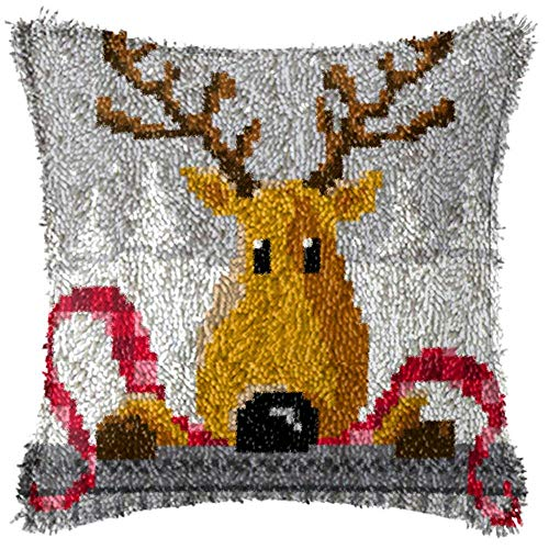 Latch Hook Kits DIY Throw Pillow Cover with Reindeer Pattern Printed Christmas Shaggy Decoration Family Activity 17'' x 17''
