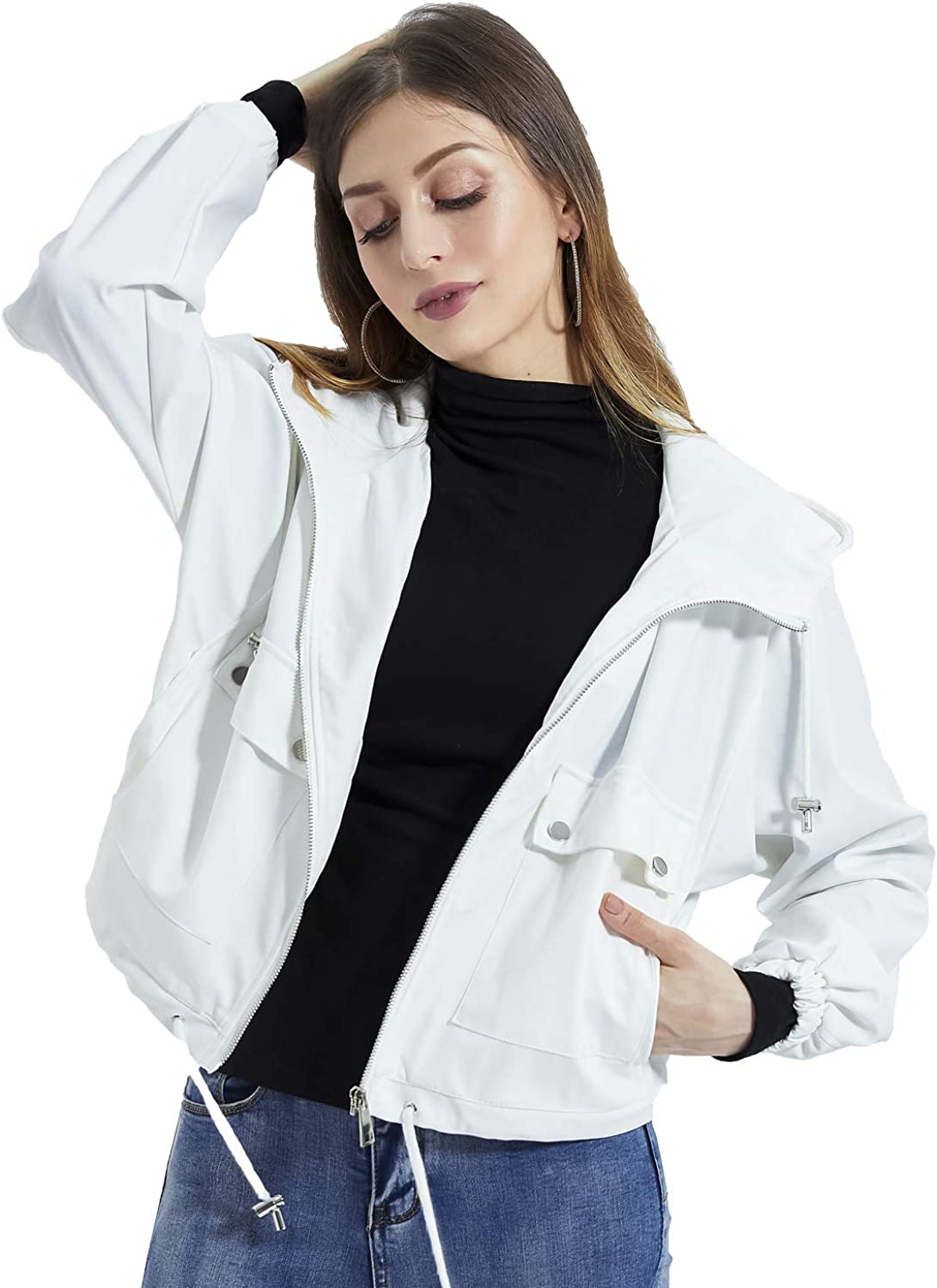 DIASHINY Women's Hooded Loose Max 61% OFF Jacket Zip F Coat Outlet sale feature Spring Up Rain