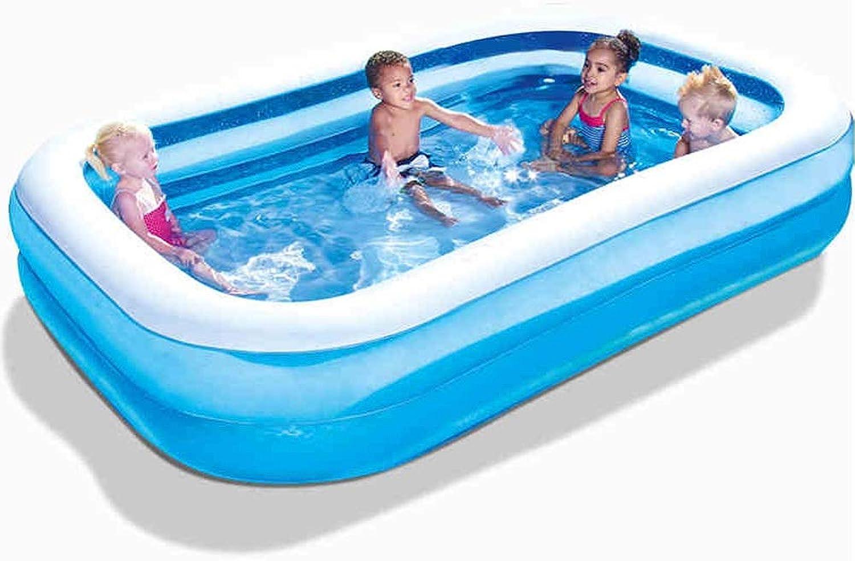 YYQUAN Rechteckiger Aufblasbarer Pool, Innen- Und Auenspielpool Blau Für Erwachsene Schwimmring